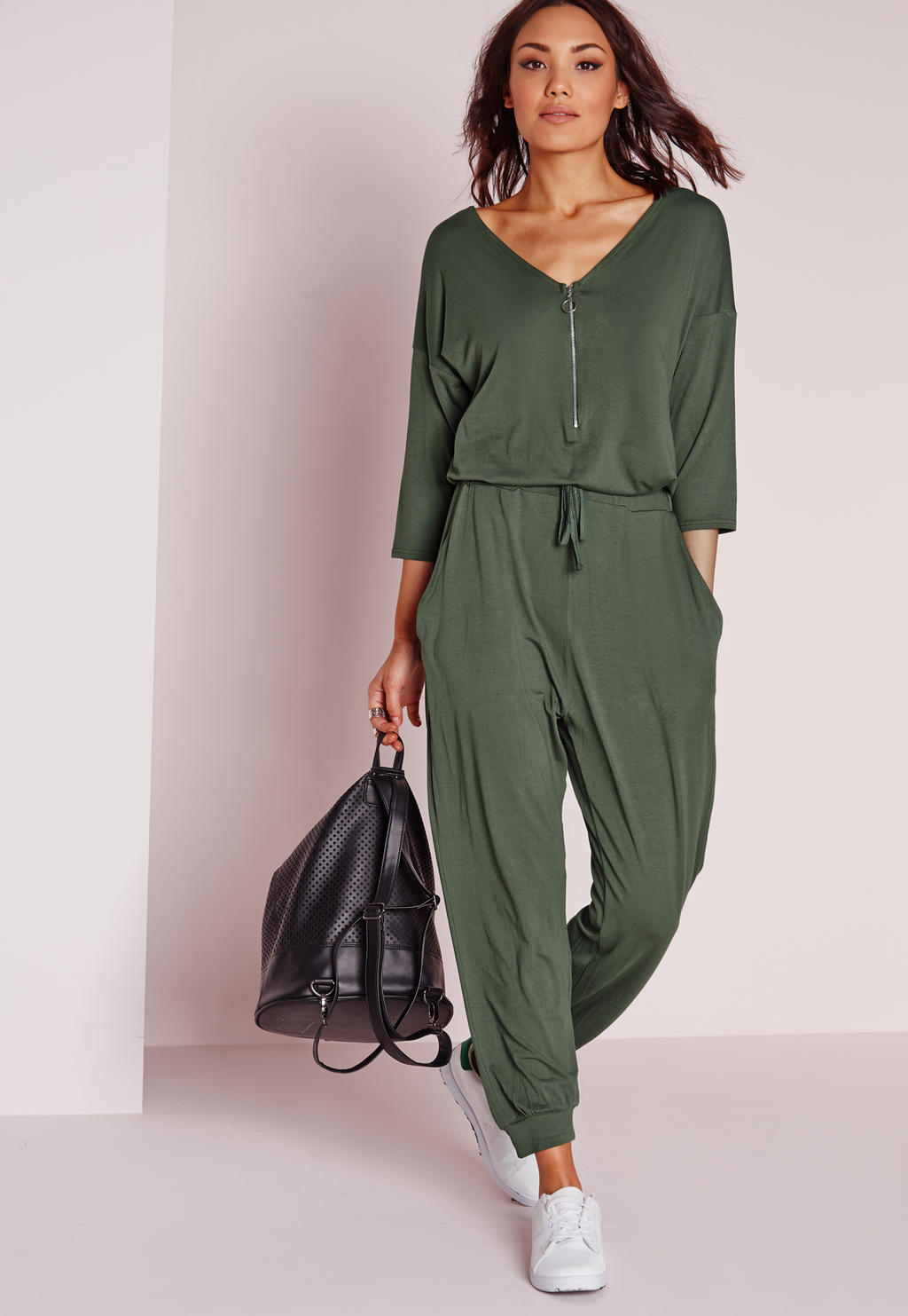 Jersey Zip Front Jumpsuit Khaki, Beige - length: standard; neckline: low v-neck; fit: fitted at waist; pattern: plain; bust detail: buttons at bust (in middle at breastbone)/zip detail at bust; predominant colour: khaki; occasions: casual; fibres: polyester/polyamide - stretch; sleeve length: 3/4 length; sleeve style: standard; style: jumpsuit; pattern type: fabric; texture group: jersey - stretchy/drapey; embellishment: zips; season: s/s 2016; wardrobe: highlight