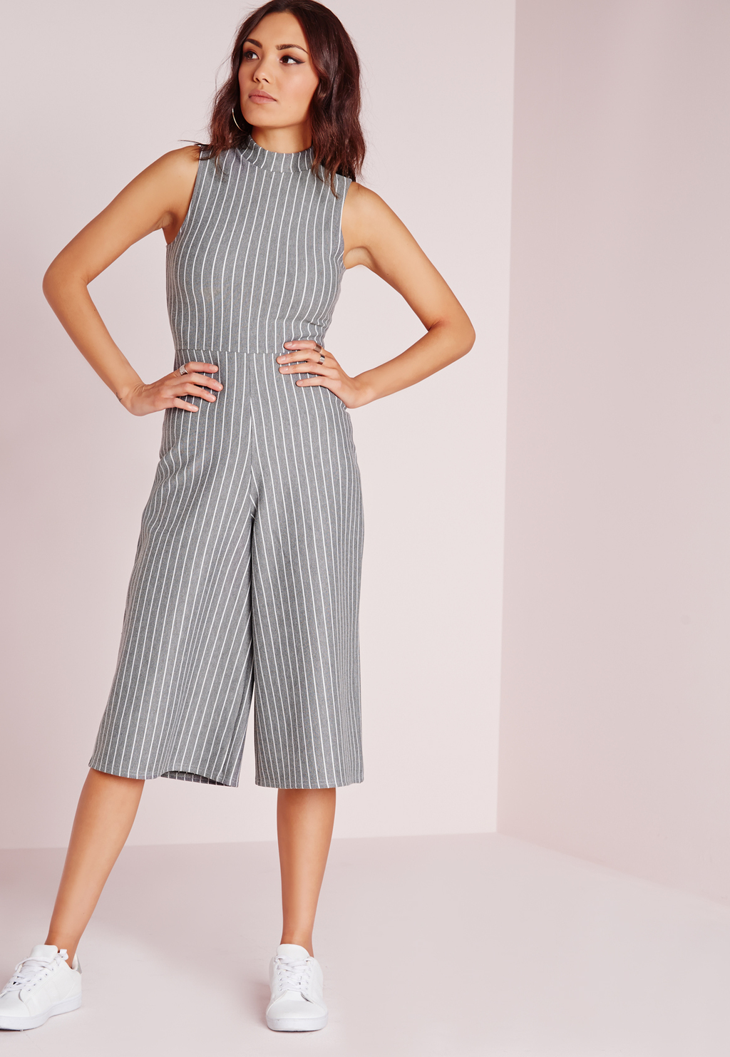 High Neck Pinstripe Culotte Jumpsuit Grey, Grey - fit: tailored/fitted; pattern: pinstripe; predominant colour: light grey; length: calf length; fibres: polyester/polyamide - stretch; neckline: crew; sleeve length: sleeveless; sleeve style: standard; style: jumpsuit; pattern type: fabric; pattern size: standard; texture group: other - light to midweight; occasions: creative work; season: s/s 2016; wardrobe: highlight