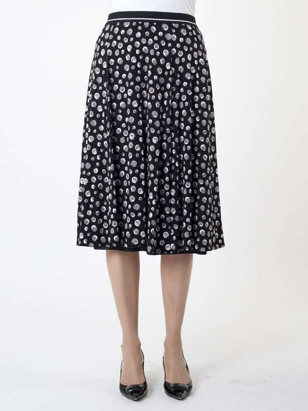Gerry Weber Irregular Spot Jersey Skirt - length: below the knee; style: full/prom skirt; fit: loose/voluminous; waist: high rise; predominant colour: navy; occasions: casual, creative work; fibres: viscose/rayon - stretch; hip detail: soft pleats at hip/draping at hip/flared at hip; waist detail: narrow waistband; pattern type: fabric; pattern: patterned/print; texture group: jersey - stretchy/drapey; pattern size: big & busy (bottom); season: s/s 2016; wardrobe: highlight