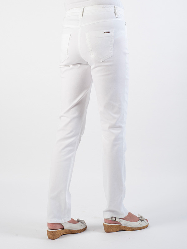 Michèle Magic White Soft Cotton Jeans – Short - length: standard; pattern: plain; pocket detail: traditional 5 pocket; style: slim leg; waist: mid/regular rise; predominant colour: white; occasions: casual; fibres: cotton - 100%; texture group: denim; pattern type: fabric; season: s/s 2016