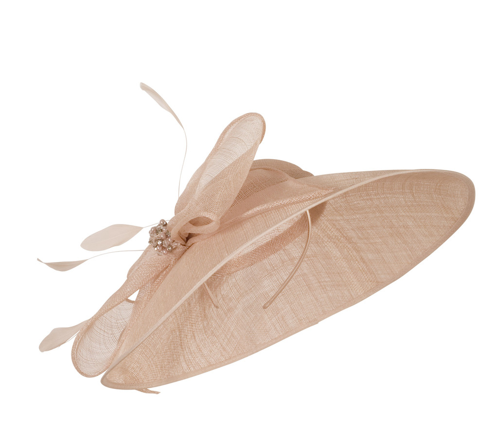 Pale Pink Large Bow Diamante And Pearl Trim Hat - predominant colour: nude; occasions: occasion; type of pattern: standard; style: fascinator; size: large; material: macrame/raffia/straw; pattern: plain; embellishment: feather; season: s/s 2016; wardrobe: event