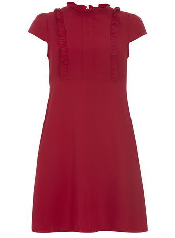 Womens Raspberry Frill Fit And Flare Dress Pink - sleeve style: capped; pattern: plain; neckline: high neck; predominant colour: true red; occasions: evening, creative work; length: just above the knee; fit: soft a-line; style: fit & flare; fibres: polyester/polyamide - 100%; sleeve length: short sleeve; texture group: crepes; bust detail: tiers/frills/bulky drapes/pleats; pattern type: fabric; season: s/s 2016; wardrobe: highlight