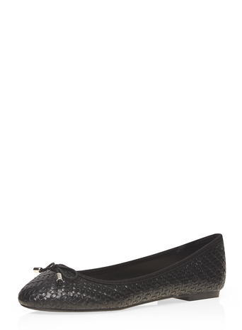 Womens Black Woven Hint Pumps Black - predominant colour: black; occasions: casual, creative work; material: faux leather; heel height: flat; toe: round toe; style: ballerinas / pumps; finish: plain; pattern: plain; season: s/s 2016; wardrobe: basic