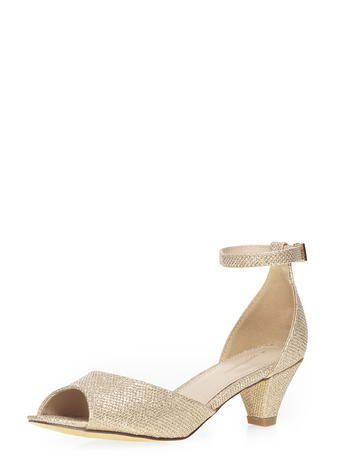 Womens Champagne 'richmond' Sandals Gold - predominant colour: champagne; occasions: evening, occasion; material: faux leather; heel height: mid; embellishment: glitter; ankle detail: ankle strap; heel: cone; toe: open toe/peeptoe; style: strappy; finish: metallic; pattern: plain; season: s/s 2016
