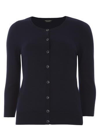 Womens Navy Cotton Cardigan Blue - neckline: round neck; pattern: plain; predominant colour: navy; occasions: casual, work, creative work; length: standard; style: standard; fibres: cotton - 100%; fit: slim fit; sleeve length: 3/4 length; sleeve style: standard; texture group: knits/crochet; pattern type: knitted - fine stitch; season: s/s 2016