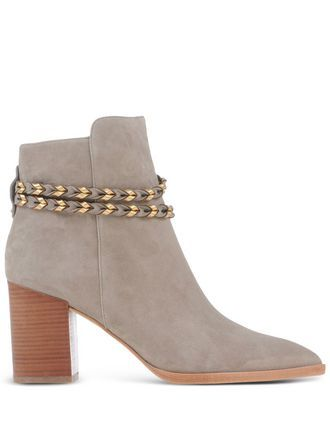 Boots Ankle Boots On Shoescribe.Com - predominant colour: light grey; occasions: casual, creative work; material: suede; heel height: high; heel: block; toe: pointed toe; boot length: ankle boot; style: standard; finish: plain; pattern: plain; season: s/s 2016; wardrobe: highlight