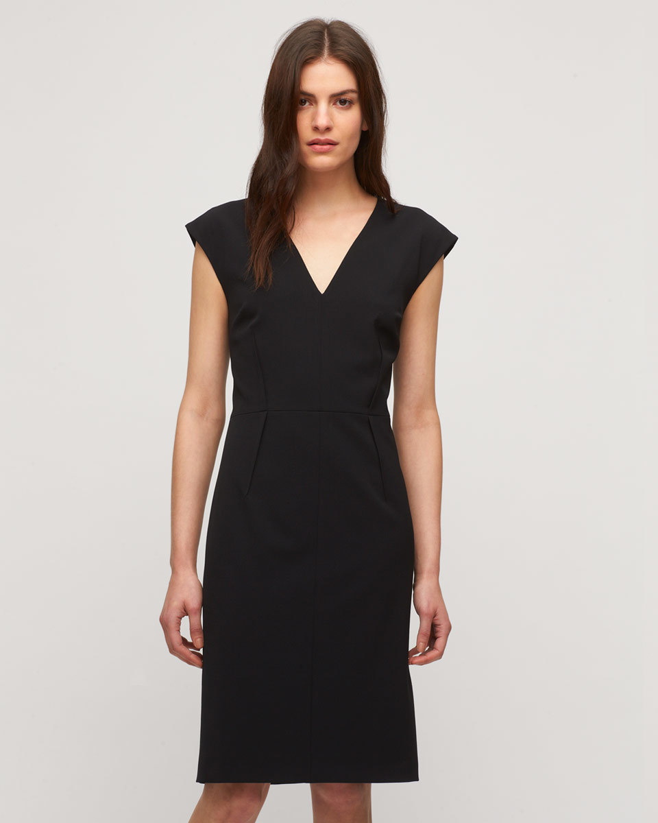 Paris Cap Sleeve Dress - style: shift; neckline: v-neck; sleeve style: capped; fit: tailored/fitted; pattern: plain; predominant colour: black; occasions: evening; length: on the knee; fibres: polyester/polyamide - stretch; sleeve length: short sleeve; texture group: crepes; pattern type: fabric; season: s/s 2016; wardrobe: event