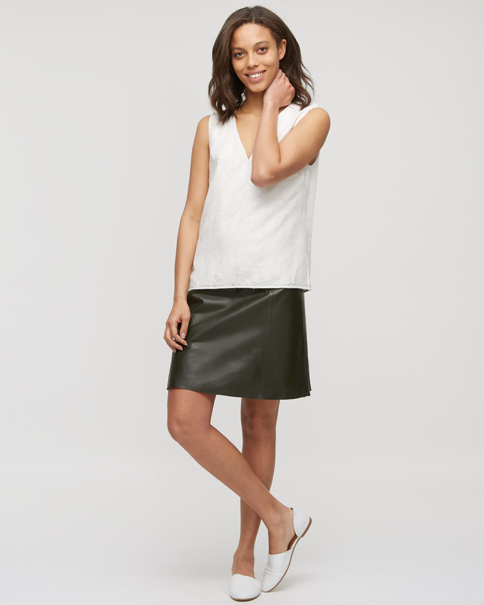 A Line Leather Skirt - pattern: plain; fit: loose/voluminous; waist: mid/regular rise; predominant colour: black; occasions: casual, creative work; length: just above the knee; style: a-line; fibres: leather - 100%; texture group: leather; pattern type: fabric; season: s/s 2016