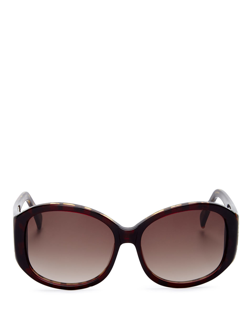 Emilie Sunglasses - predominant colour: chocolate brown; occasions: casual, holiday; style: round; size: large; material: plastic/rubber; pattern: tortoiseshell; finish: plain; season: s/s 2016; wardrobe: basic