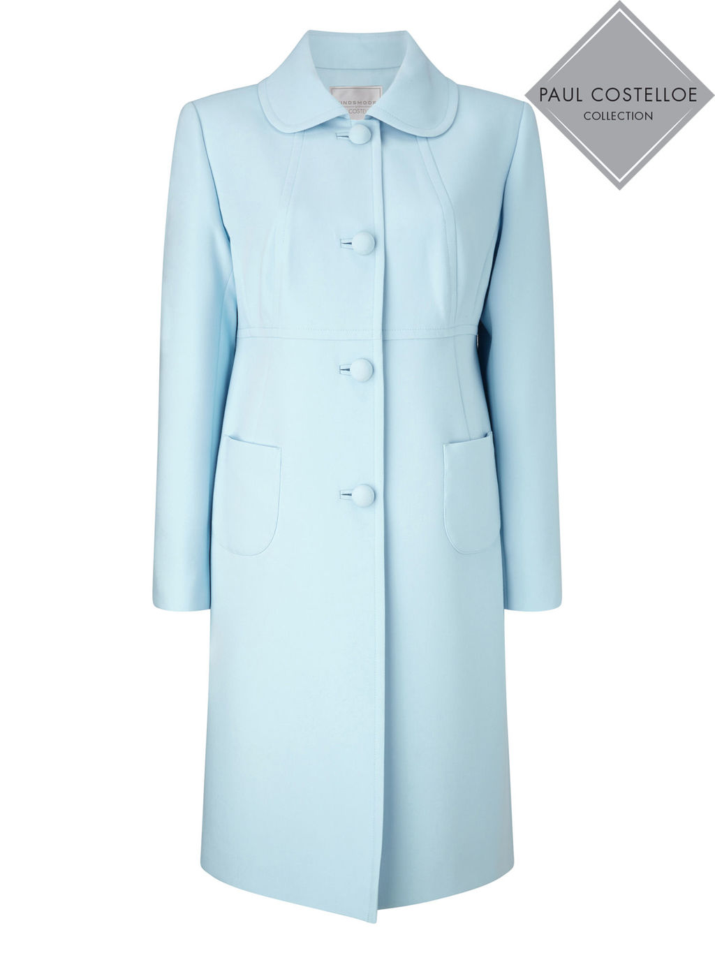Paul Costelloe Sandown Coat - pattern: plain; style: single breasted; length: mid thigh; predominant colour: pale blue; fit: tailored/fitted; fibres: polyester/polyamide - stretch; occasions: occasion; collar: shirt collar/peter pan/zip with opening; sleeve length: long sleeve; sleeve style: standard; collar break: high; pattern type: fabric; texture group: other - light to midweight; season: s/s 2016; wardrobe: event