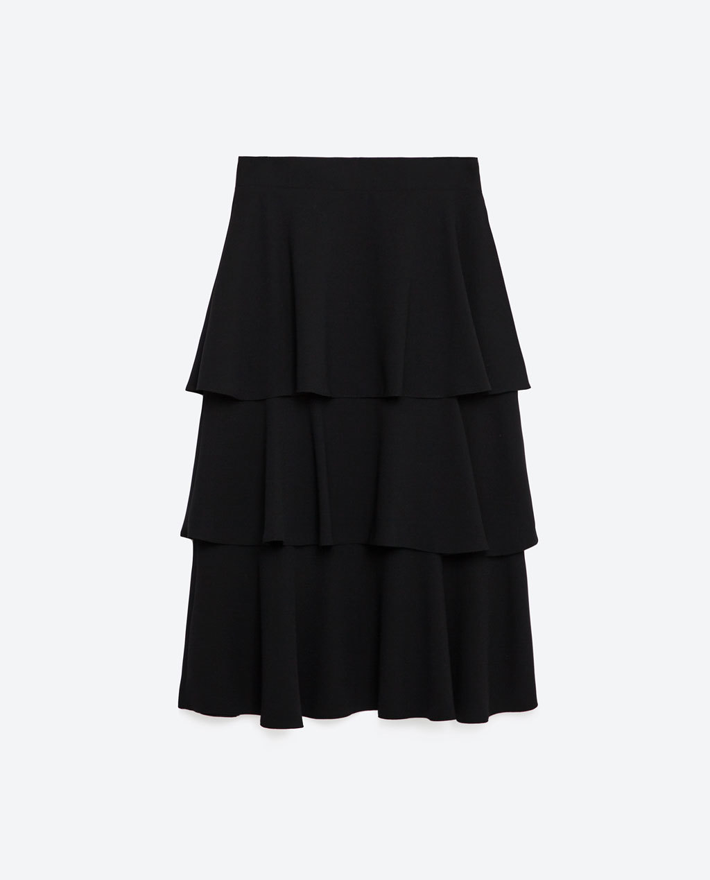 Long Skirt With Frills - length: below the knee; pattern: plain; fit: loose/voluminous; style: tiered; waist: high rise; predominant colour: black; fibres: polyester/polyamide - 100%; hip detail: adds bulk at the hips; pattern type: fabric; texture group: other - light to midweight; occasions: creative work; season: s/s 2016; wardrobe: basic
