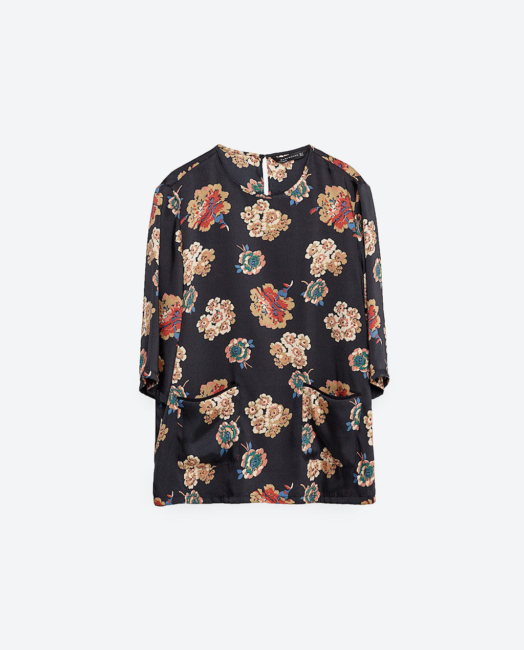 Printed Top - secondary colour: stone; predominant colour: black; occasions: casual; length: standard; style: top; fibres: polyester/polyamide - 100%; fit: body skimming; neckline: crew; back detail: keyhole/peephole detail at back; sleeve length: half sleeve; sleeve style: standard; pattern type: fabric; pattern: florals; texture group: woven light midweight; multicoloured: multicoloured; season: s/s 2016