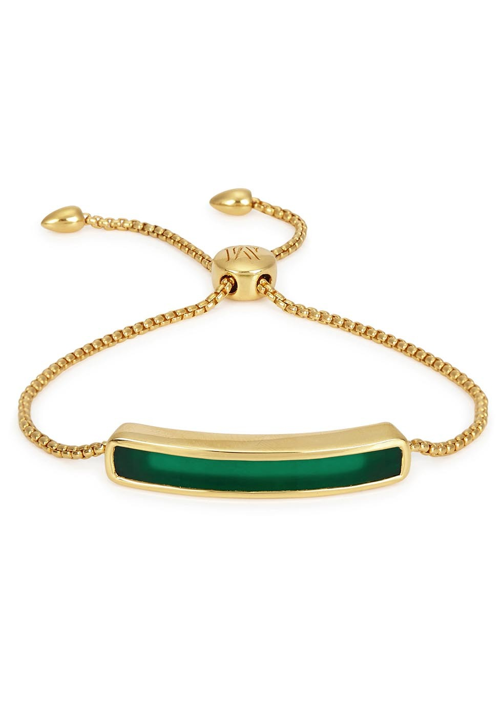 Baja 18kt Gold Plated Bracelet - predominant colour: dark green; secondary colour: gold; occasions: evening, occasion; style: friendship/tie; size: standard; material: chain/metal; finish: metallic; embellishment: jewels/stone; season: s/s 2016; wardrobe: event