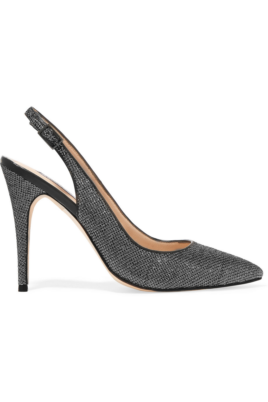 Tigers Eye Metallic Canvas Pumps Silver - predominant colour: charcoal; occasions: evening, occasion; material: fabric; heel height: high; heel: stiletto; toe: pointed toe; style: slingbacks; finish: metallic; pattern: plain; season: s/s 2016; wardrobe: event