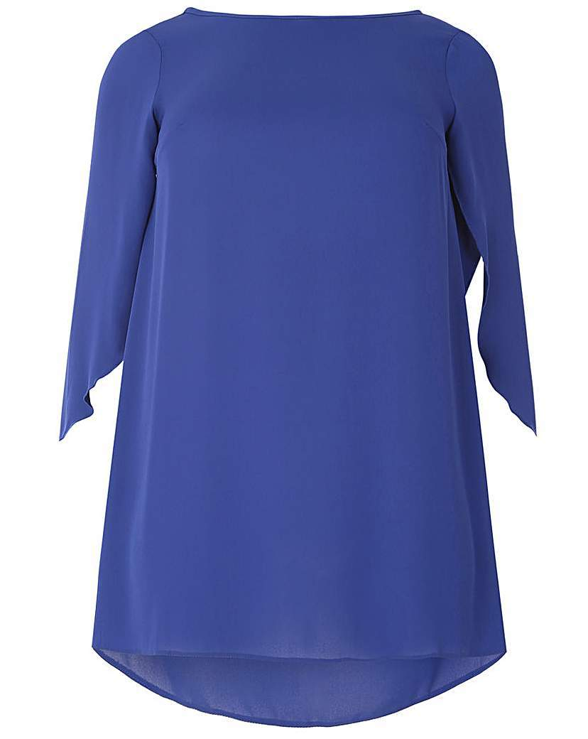Emily Angel Sleeve Blouse Top - neckline: slash/boat neckline; sleeve style: angel/waterfall; pattern: plain; length: below the bottom; style: tunic; predominant colour: royal blue; occasions: casual, creative work; fibres: polyester/polyamide - 100%; fit: straight cut; sleeve length: half sleeve; texture group: crepes; pattern type: fabric; season: s/s 2016; wardrobe: highlight