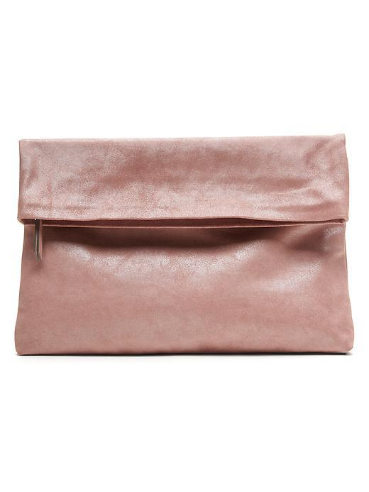 Italian Suede Foldover Pouch Blush - occasions: evening, occasion; type of pattern: standard; style: clutch; length: hand carry; size: standard; material: suede; pattern: plain; finish: plain; predominant colour: dusky pink; season: s/s 2016; wardrobe: event