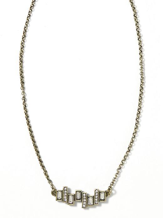 Baguette Delicate Necklace Brass - predominant colour: gold; occasions: evening, occasion; style: pendant; length: short; size: standard; material: chain/metal; finish: metallic; embellishment: crystals/glass; season: s/s 2016; wardrobe: event