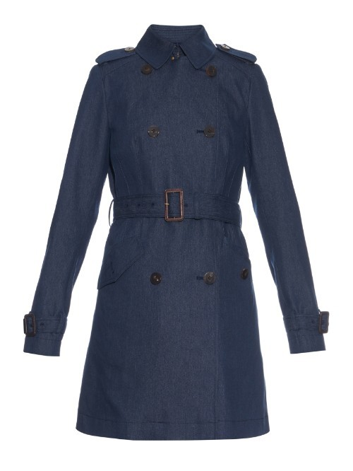 Grace Coat - pattern: plain; shoulder detail: obvious epaulette; style: trench coat; length: mid thigh; predominant colour: navy; occasions: casual, creative work; fit: tailored/fitted; fibres: cotton - mix; collar: shirt collar/peter pan/zip with opening; waist detail: belted waist/tie at waist/drawstring; sleeve length: long sleeve; sleeve style: standard; collar break: high; pattern type: fabric; texture group: woven light midweight; season: s/s 2016; wardrobe: basic