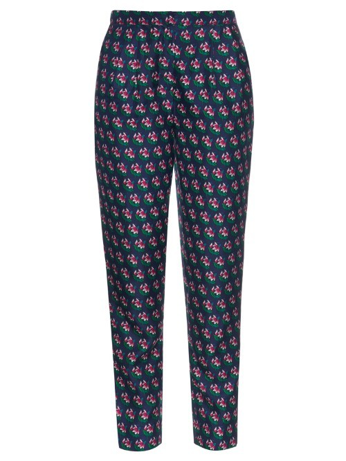 Leni Trousers - length: standard; waist: mid/regular rise; secondary colour: purple; predominant colour: dark green; occasions: casual; fibres: silk - 100%; fit: straight leg; pattern type: fabric; pattern: patterned/print; texture group: woven light midweight; style: standard; pattern size: standard (bottom); multicoloured: multicoloured; season: s/s 2016
