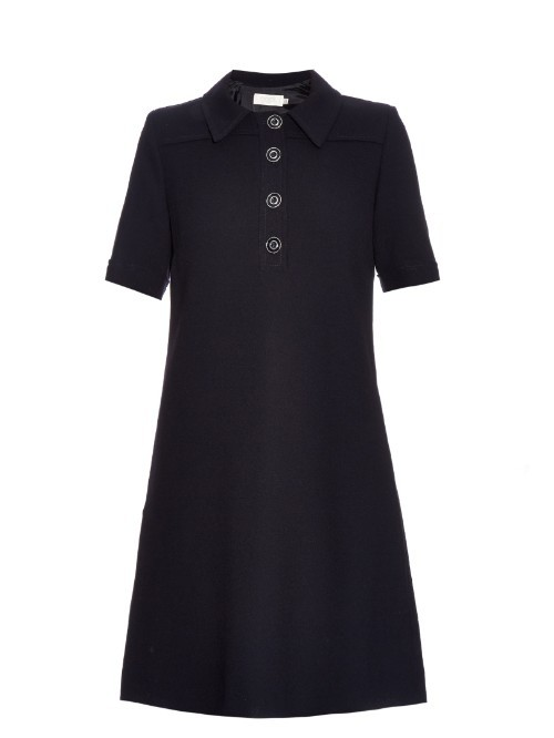 Betsey Wool Crepe Dress - style: a-line; length: mid thigh; neckline: shirt collar/peter pan/zip with opening; fit: loose; pattern: plain; predominant colour: navy; occasions: evening, creative work; fibres: wool - 100%; sleeve length: short sleeve; sleeve style: standard; pattern type: fabric; pattern size: standard; texture group: woven light midweight; season: s/s 2016; wardrobe: investment; embellishment location: bust