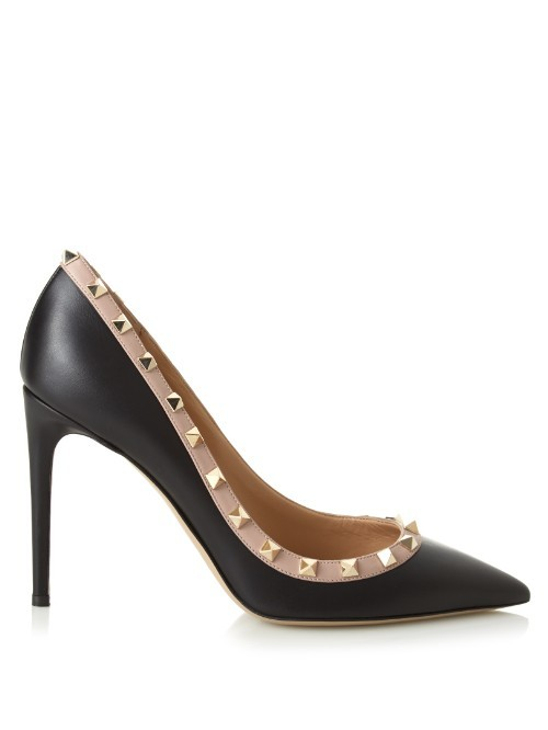 Rockstud Point Toe Pumps - predominant colour: black; occasions: evening, occasion, creative work; material: leather; embellishment: studs; heel: stiletto; toe: pointed toe; style: courts; finish: plain; pattern: plain; heel height: very high; season: s/s 2016