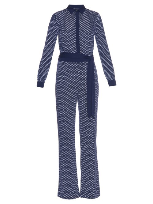 Traci Jumpsuit - length: standard; neckline: shirt collar/peter pan/zip with opening; fit: tailored/fitted; waist detail: belted waist/tie at waist/drawstring; predominant colour: navy; secondary colour: navy; occasions: evening, occasion; sleeve length: long sleeve; sleeve style: standard; style: jumpsuit; pattern type: fabric; pattern size: big & busy; pattern: patterned/print; texture group: other - light to midweight; fibres: silk - stretch; season: s/s 2016; wardrobe: event