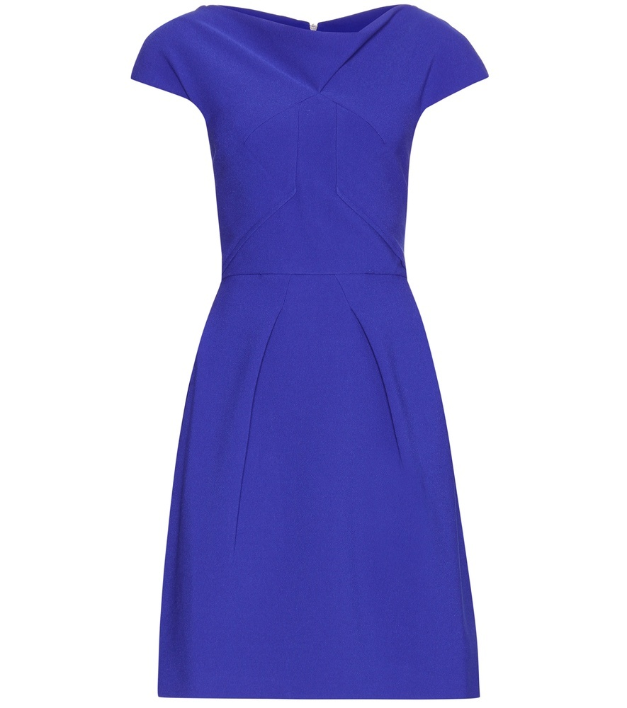 Scala Crêpe Dress - neckline: cowl/draped neck; sleeve style: capped; pattern: plain; predominant colour: royal blue; occasions: evening, occasion; length: just above the knee; fit: fitted at waist & bust; style: fit & flare; fibres: polyester/polyamide - stretch; sleeve length: short sleeve; texture group: crepes; pattern type: fabric; season: s/s 2016; wardrobe: event
