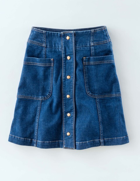 Isabelle Skirt Vintage Women, Vintage - length: mid thigh; pattern: plain; fit: loose/voluminous; waist: high rise; predominant colour: denim; occasions: casual; style: a-line; fibres: cotton - stretch; hip detail: subtle/flattering hip detail; texture group: denim; pattern type: fabric; season: s/s 2016; wardrobe: basic