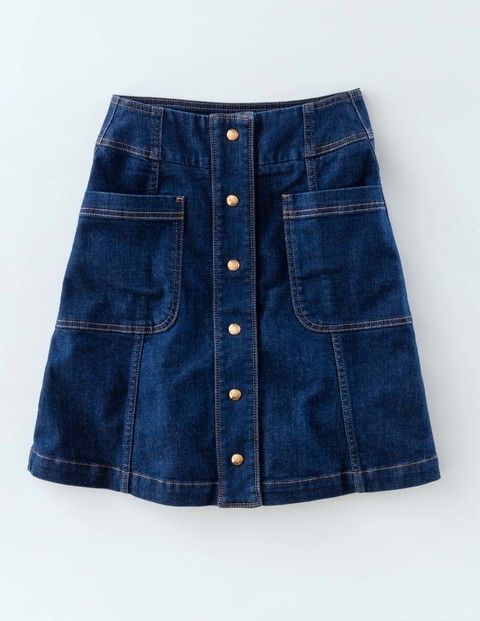 Isabelle Skirt Indigo Women, Indigo - length: mid thigh; pattern: plain; fit: loose/voluminous; waist: mid/regular rise; predominant colour: navy; occasions: casual; style: a-line; fibres: cotton - 100%; texture group: denim; pattern type: fabric; season: s/s 2016; wardrobe: basic