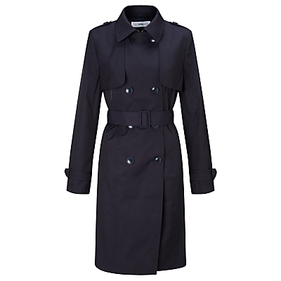 Double Breasted Trench Coat - pattern: plain; style: trench coat; predominant colour: navy; occasions: work; fit: tailored/fitted; fibres: cotton - mix; length: below the knee; collar: shirt collar/peter pan/zip with opening; waist detail: belted waist/tie at waist/drawstring; sleeve length: long sleeve; sleeve style: standard; texture group: technical outdoor fabrics; collar break: high; pattern type: fabric; season: s/s 2016