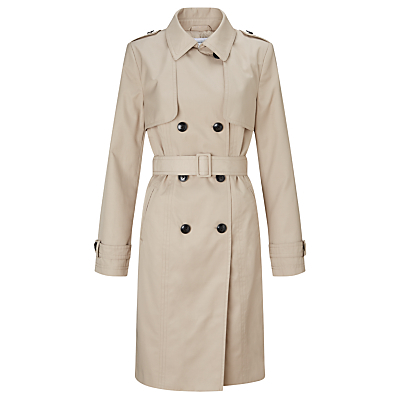 Double Breasted Trench Coat - pattern: plain; style: trench coat; predominant colour: stone; occasions: casual, creative work; fit: tailored/fitted; fibres: cotton - mix; length: below the knee; collar: shirt collar/peter pan/zip with opening; waist detail: belted waist/tie at waist/drawstring; sleeve length: long sleeve; sleeve style: standard; texture group: technical outdoor fabrics; collar break: high; pattern type: fabric; pattern size: standard; season: s/s 2016; wardrobe: basic