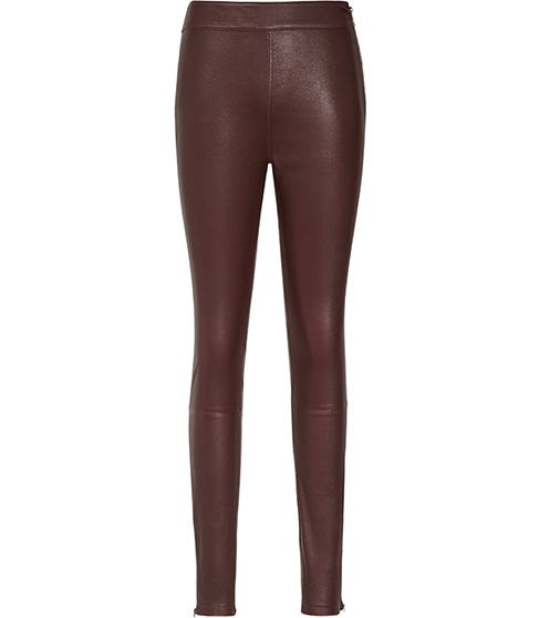 Selina Leather Leggings - length: standard; pattern: plain; style: leggings; waist: high rise; predominant colour: chocolate brown; occasions: evening, creative work; fibres: leather - 100%; texture group: leather; fit: skinny/tight leg; pattern type: fabric; season: s/s 2016; wardrobe: highlight
