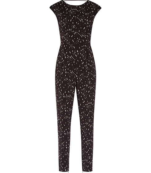 Davis Printed Jumpsuit - length: standard; neckline: round neck; sleeve style: capped; fit: tailored/fitted; secondary colour: white; predominant colour: black; occasions: casual, evening; fibres: polyester/polyamide - stretch; sleeve length: short sleeve; style: jumpsuit; pattern type: fabric; pattern size: big & busy; pattern: patterned/print; texture group: other - light to midweight; season: s/s 2016; wardrobe: highlight