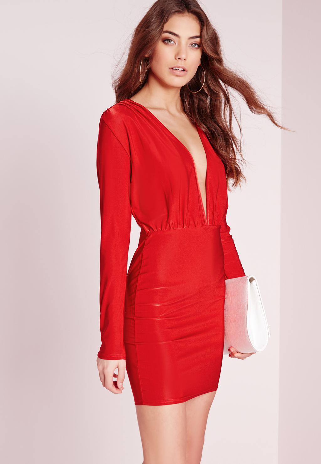 Slinky Long Sleeve Bodycon Dress Red, Red - style: shift; length: mid thigh; neckline: plunge; fit: fitted at waist; pattern: plain; predominant colour: true red; occasions: evening; fibres: polyester/polyamide - 100%; sleeve length: long sleeve; sleeve style: standard; pattern type: fabric; texture group: other - light to midweight; season: s/s 2016; wardrobe: event