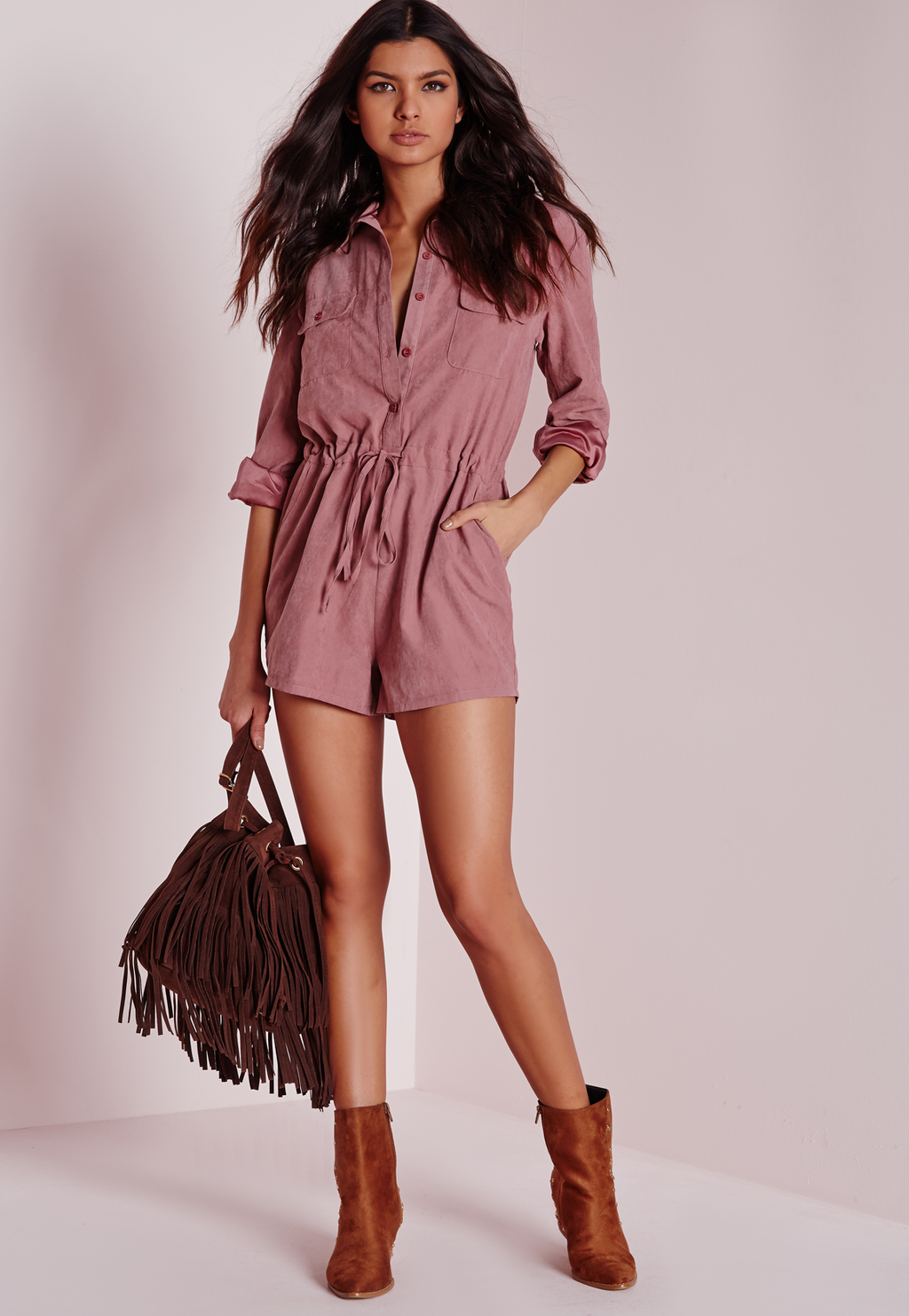 Peached Long Sleeve Shirt Playsuit Pink, Pink - neckline: shirt collar/peter pan/zip with opening; pattern: plain; waist detail: belted waist/tie at waist/drawstring; length: short shorts; predominant colour: blush; occasions: casual; fit: body skimming; fibres: polyester/polyamide - 100%; sleeve length: long sleeve; sleeve style: standard; style: playsuit; pattern type: fabric; texture group: woven light midweight; season: s/s 2016; wardrobe: highlight