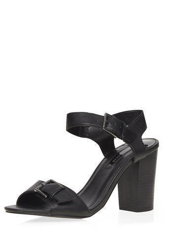 Womens Black 'satin' Block Heel Sandals Black - predominant colour: black; material: leather; heel height: high; heel: block; toe: open toe/peeptoe; style: standard; finish: plain; pattern: plain; occasions: creative work; season: s/s 2016; wardrobe: investment