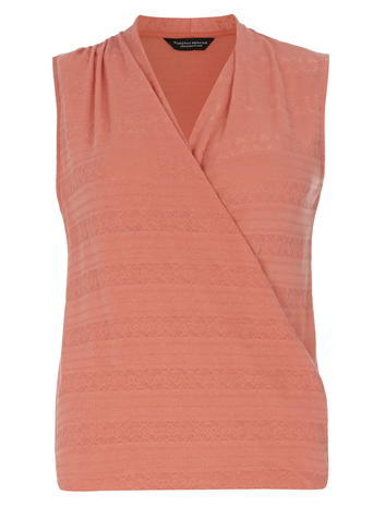 Womens Coral Textured Wrap Top Coral - neckline: v-neck; pattern: plain; sleeve style: sleeveless; predominant colour: coral; occasions: casual; length: standard; style: top; fibres: polyester/polyamide - stretch; fit: body skimming; sleeve length: sleeveless; pattern type: fabric; texture group: jersey - stretchy/drapey; season: s/s 2016; wardrobe: highlight