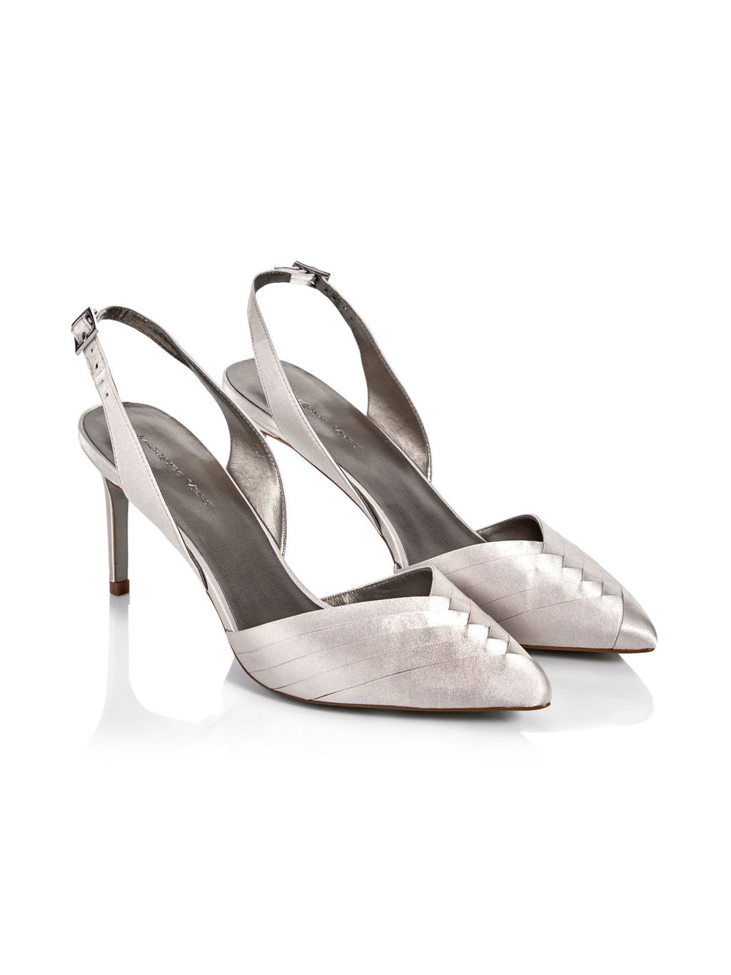 Pleated Point Shoe - predominant colour: silver; occasions: evening, occasion; material: satin; heel height: high; ankle detail: ankle strap; heel: stiletto; toe: pointed toe; style: slingbacks; finish: plain; pattern: plain; season: s/s 2016; wardrobe: event