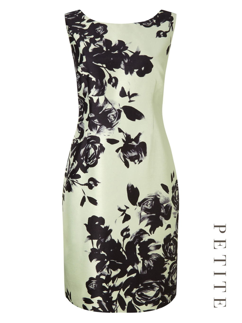 Petite Placement Floral Dress - style: shift; length: mid thigh; neckline: round neck; fit: tailored/fitted; sleeve style: sleeveless; predominant colour: pistachio; secondary colour: black; fibres: polyester/polyamide - 100%; occasions: occasion; sleeve length: sleeveless; texture group: structured shiny - satin/tafetta/silk etc.; pattern type: fabric; pattern size: big & busy; pattern: florals; season: s/s 2016; wardrobe: event