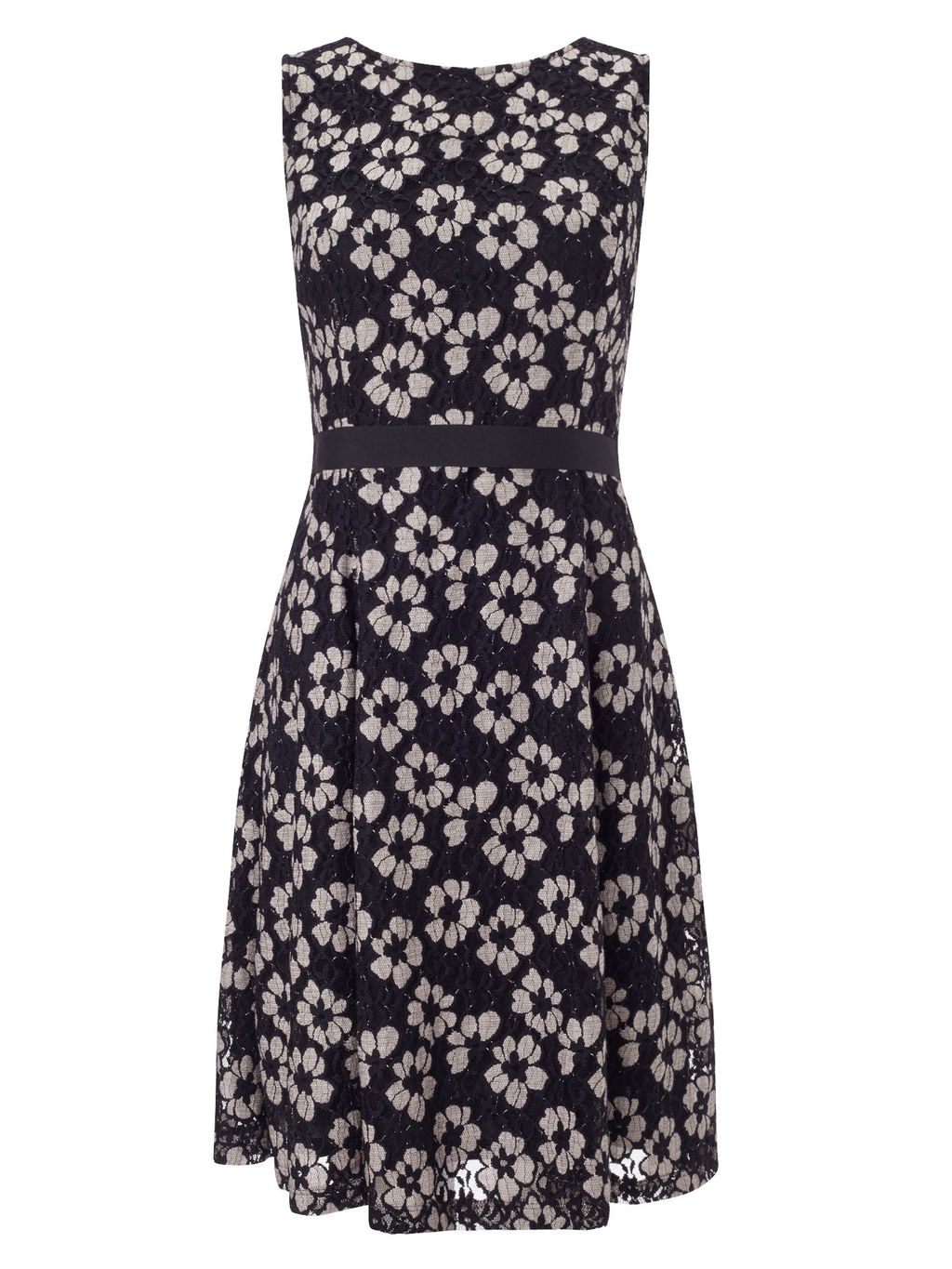 Black And Oyster Lace Dress - neckline: round neck; sleeve style: sleeveless; secondary colour: mid grey; predominant colour: black; occasions: evening, occasion; length: just above the knee; fit: fitted at waist & bust; style: fit & flare; fibres: nylon - mix; waist detail: feature waist detail; sleeve length: sleeveless; texture group: lace; pattern type: fabric; pattern size: standard; pattern: patterned/print; season: s/s 2016; wardrobe: event