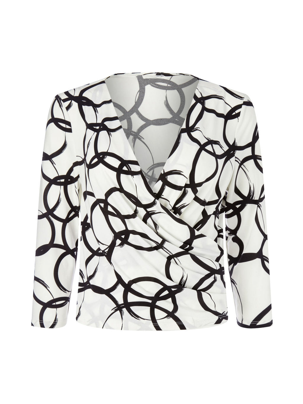 By Jeff Banks Circle Print Top, Ivory - neckline: v-neck; style: wrap/faux wrap; predominant colour: white; secondary colour: black; occasions: casual; length: standard; fibres: polyester/polyamide - stretch; fit: body skimming; sleeve length: 3/4 length; sleeve style: standard; pattern type: fabric; pattern: patterned/print; texture group: jersey - stretchy/drapey; multicoloured: multicoloured; season: s/s 2016; wardrobe: highlight
