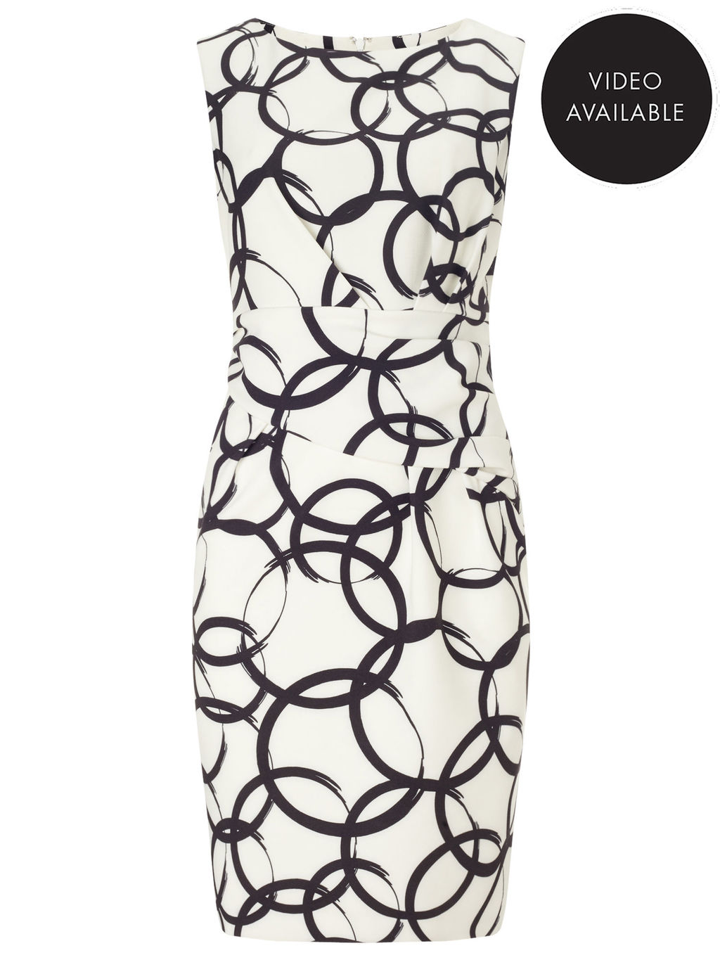 Jeff Banks Circle Print Dress - style: shift; neckline: round neck; fit: tailored/fitted; sleeve style: sleeveless; waist detail: fitted waist; predominant colour: white; secondary colour: black; occasions: evening, occasion; length: just above the knee; fibres: polyester/polyamide - stretch; sleeve length: sleeveless; trends: monochrome; pattern type: fabric; pattern size: big & busy; pattern: patterned/print; texture group: woven light midweight; season: s/s 2016; wardrobe: event