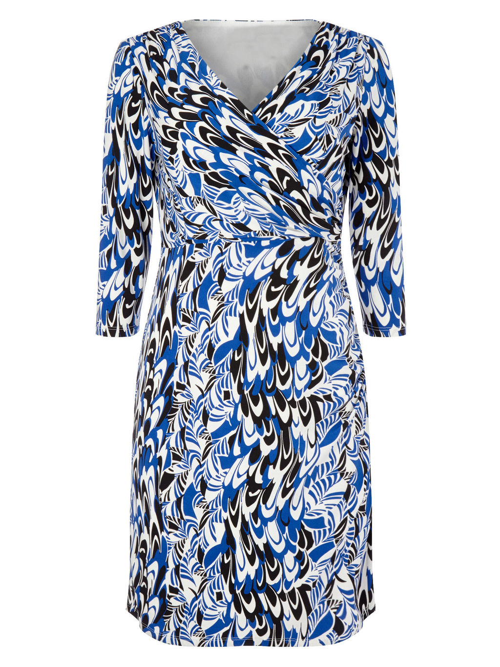 By Jeff Banks Scribble Print Dress, Blue/Multi - style: faux wrap/wrap; neckline: v-neck; predominant colour: royal blue; secondary colour: black; occasions: casual, occasion, creative work; length: just above the knee; fit: fitted at waist & bust; fibres: polyester/polyamide - stretch; sleeve length: 3/4 length; sleeve style: standard; pattern type: fabric; pattern size: standard; pattern: patterned/print; texture group: jersey - stretchy/drapey; multicoloured: multicoloured; season: s/s 2016; wardrobe: highlight