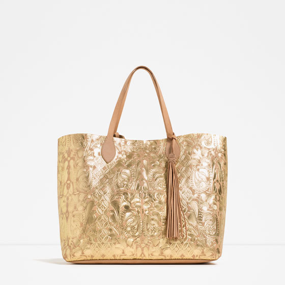 Metallic Tote - predominant colour: gold; occasions: casual, creative work; type of pattern: standard; style: tote; length: shoulder (tucks under arm); size: oversized; material: leather; embellishment: tassels; finish: metallic; pattern: patterned/print; season: s/s 2016; wardrobe: highlight