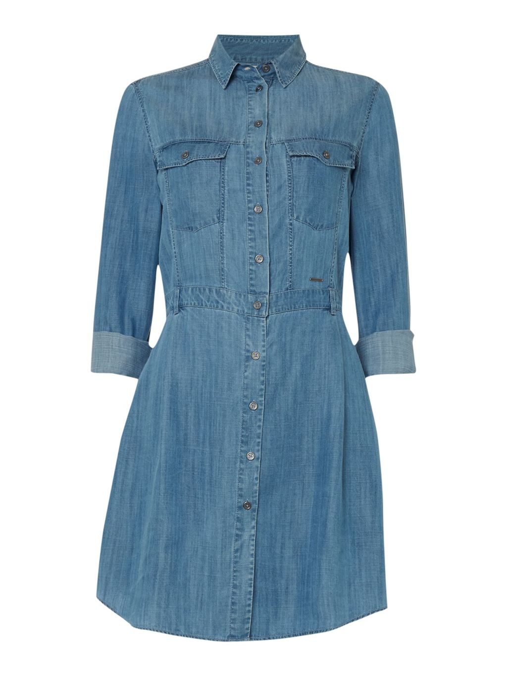 Rivian Denim Shirt Dress, Indigo - style: shirt; neckline: shirt collar/peter pan/zip with opening; fit: fitted at waist; pattern: plain; predominant colour: denim; occasions: casual; length: just above the knee; fibres: cotton - 100%; sleeve length: 3/4 length; sleeve style: standard; texture group: denim; pattern type: fabric; season: s/s 2016; wardrobe: basic
