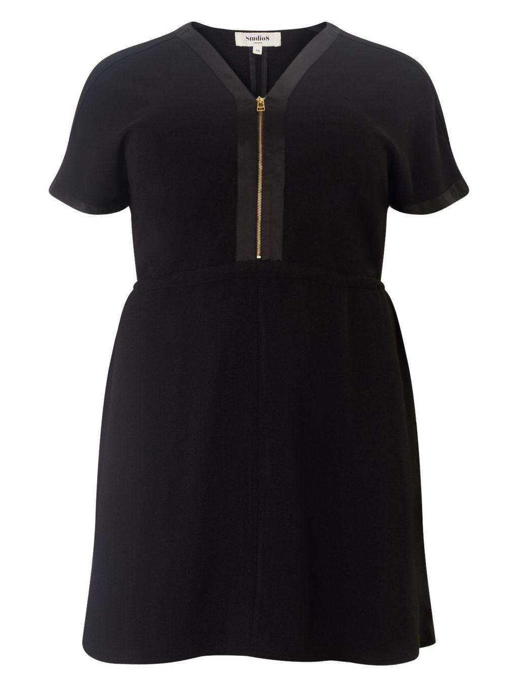 Lisa Tunic Dress, Black - style: tunic; length: mid thigh; neckline: v-neck; pattern: plain; bust detail: subtle bust detail; predominant colour: black; occasions: casual, creative work; fit: fitted at waist & bust; fibres: polyester/polyamide - stretch; sleeve length: short sleeve; sleeve style: standard; pattern type: fabric; texture group: other - light to midweight; season: s/s 2016; wardrobe: basic