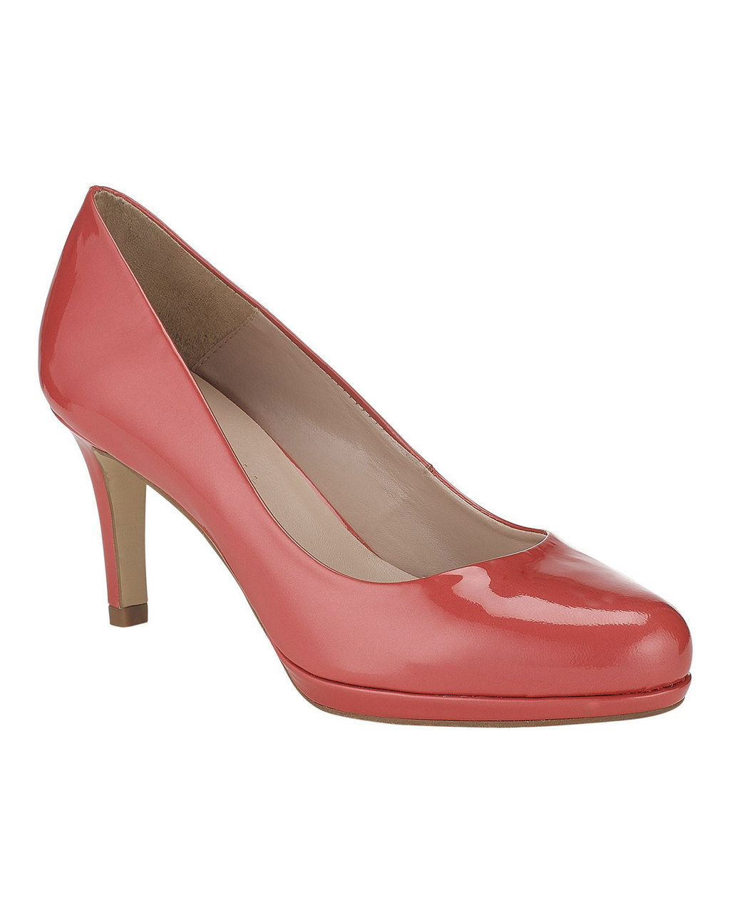 Amara Leather Court - predominant colour: pink; occasions: occasion; material: leather; heel height: mid; heel: standard; toe: round toe; style: courts; finish: patent; pattern: plain; shoe detail: platform; season: s/s 2016