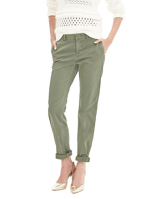 Straight Fit Chino Dusty Green F99 - pattern: plain; hip detail: draws attention to hips; waist: mid/regular rise; predominant colour: khaki; occasions: casual, holiday; length: ankle length; style: chino; fibres: cotton - stretch; waist detail: feature waist detail; texture group: cotton feel fabrics; fit: slim leg; pattern type: fabric; season: s/s 2016; wardrobe: basic