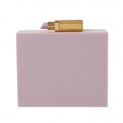 Light Magenta Chloe Clutch - predominant colour: lilac; secondary colour: gold; occasions: evening, occasion; type of pattern: standard; style: clutch; length: hand carry; size: small; material: leather; pattern: plain; finish: plain; season: s/s 2016; wardrobe: event