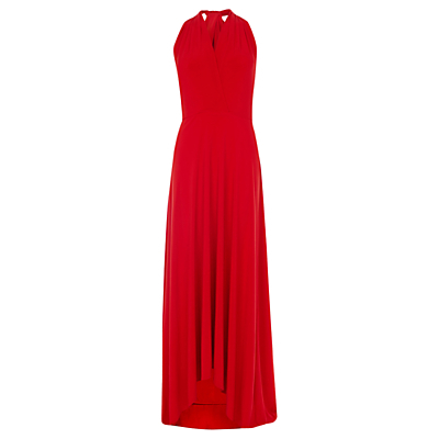 Corwin Multi Tie Hi Lo Maxi Dress - neckline: v-neck; pattern: plain; sleeve style: sleeveless; style: maxi dress; length: ankle length; predominant colour: true red; occasions: evening, occasion; fit: fitted at waist & bust; fibres: polyester/polyamide - stretch; hip detail: subtle/flattering hip detail; sleeve length: sleeveless; pattern type: fabric; texture group: jersey - stretchy/drapey; season: s/s 2016; wardrobe: event